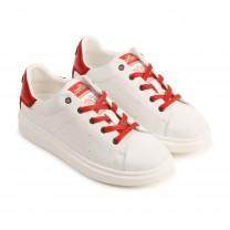 White & Red Leather Sneakers