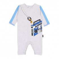 Soft Grey Stereo Printed Cotton Babysuit