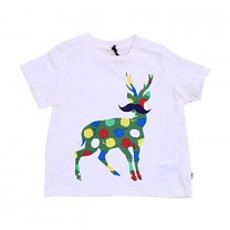 White Comical Deer Print T-Shirt (2-14 years)