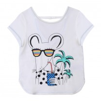 White Mouse Print T-Shirt