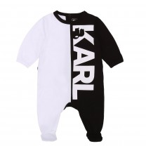 Two-tone Black and White Logo Babysuit