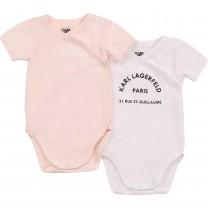 Pink & White Logo Babysuit Set