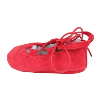 Red Suede Lace Up Baby Girl Shoes