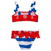 Red Sailor Multi Coloured Frills Bikini