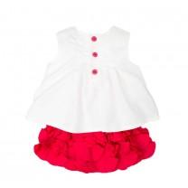 White Sleeveless Top and Flower Embellishment Skirt Set