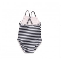 White and Navy Blue Striped Flower Swimsuit