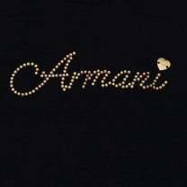 Navy Blue T-Shirt with Jewel Logo Embellishment