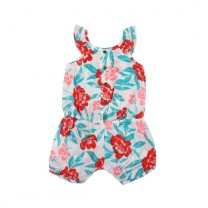 Turquoise Red Floral Jumpsuit