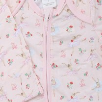 Zip Up Babysuit with Ballerina Print