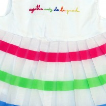 White Dress with Colorful Lines