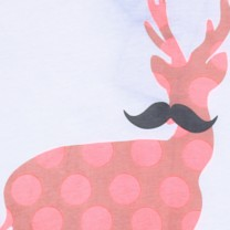 Cream Comical Deer Print T-Shirt