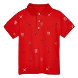 Red Logo Print Polo Shirt
