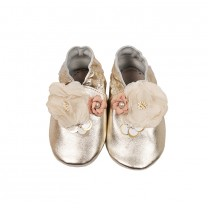Shimmery Silver with Flowers Details Pre-walker Shoes