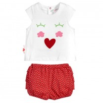 Red Lovely Face Cotton 2 Piece Shorts Set