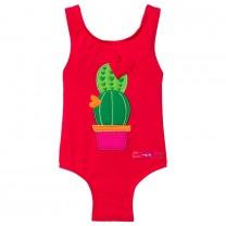 Red Cactus Print Swimsuit