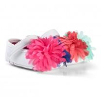 White Multicolored Pom Pom Shoes