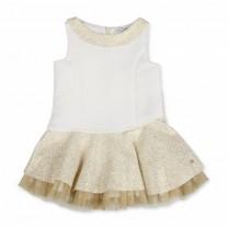 White Gold Tule Assymetrical Dress