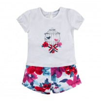 White Birdies and Floral T-shirt and Shorts Set