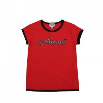 Red Leopard Logo Print T-shirt
