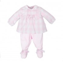Baby Pink Checkered Two Piece Babygrow