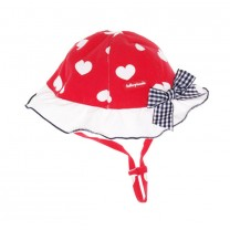Red Hearts & Bow Sun Hat