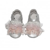 Shimmery Silver with Tulle Details Pre-walker Shoes
