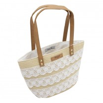 White Lace Straw Handbag