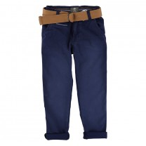 Navy Bleached Cotton Pants with Belt