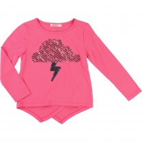 Pink Sequin Cloud & Lightning T-Shirt