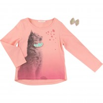 Pink Cat T-Shirt with Patches Set